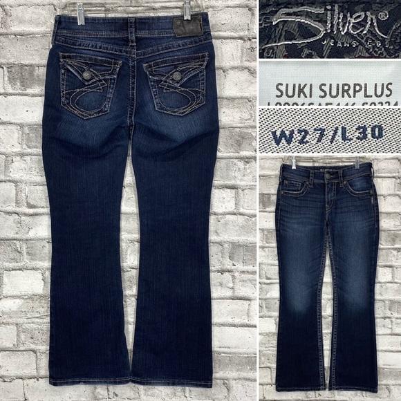 Silver Suki Surplus Sz 27 x 30 Thick Stitch Flap Pocket Dark Wash Bootcut Jeans
